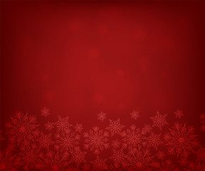 Christmas red background with snowflakes border