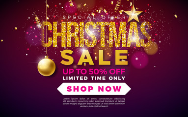 Christmas Sale Design with Ornamental Ball and Falling Confetti on Dark Background. Holiday Vector Illustration with Special Offer Typography Elements for Coupon, Voucher, Banner, Flyer, Promotional