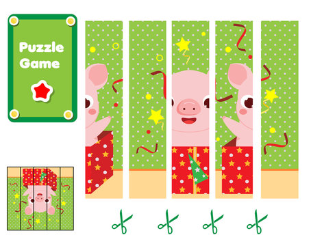 Puzzle for toddlers. Children Educational game. Complete the picture with cartoon pig in gift box. Christmas and New Year holidays theme