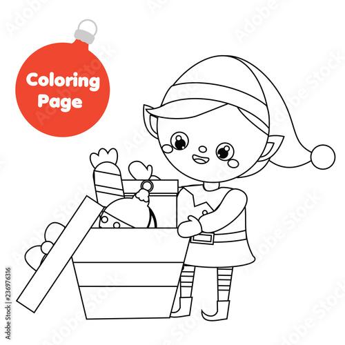 Coloring page. Santa helper elf pack gifts. Printable fun ...