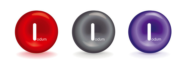3d icon of I iodine - red erythrocyte symbol or violet or gray metallic mineral with I iodum - vectors