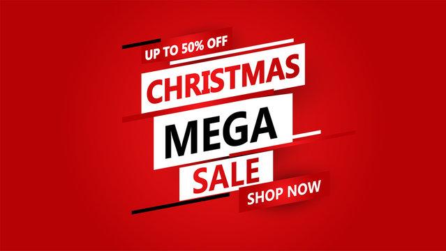 Mega Christmas sale banner. Vector illustration.