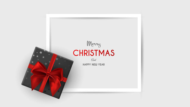 Christmas, square banner in form of gift with red ribbon and bow, on winter background. Greeting card or banner template. Vector illustration.