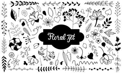 Vector set of isolated doodle flowers. Hand Drawn vintage floral elements. Black and white.