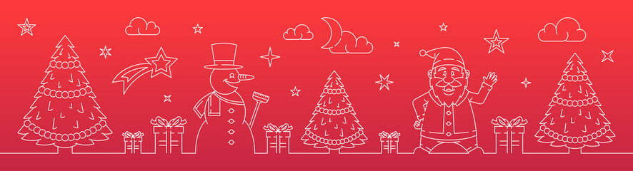 Bannière de Noël - Père Noël, sapin et bonhomme de neige