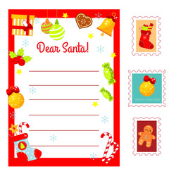 Christmas Letter to Santa Claus. Decorated Letter blank and postal stamps. New Year Holidays kit for children, kids, seasonal scrapbook