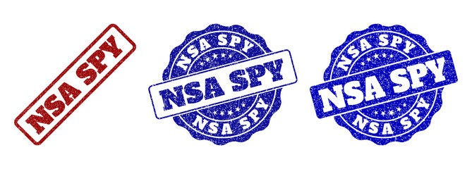 NSA SPY grunge stamp seals in red and blue colors. Vector NSA SPY labels with draft effect. Graphic elements are rounded rectangles, rosettes, circles and text labels.