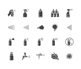 Spray can flat glyph icons set. Hand with aerosol, airbrush, powder coating, graffiti art, cough effect vector illustrations. Signs for disinfection, cleaning. Solid silhouette pixel perfect 64x64