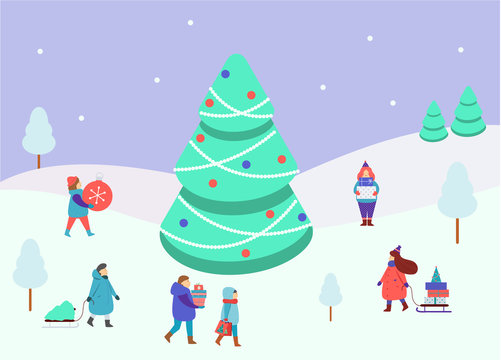 Winter people small figures around big spruce tree. Men and women carry Christmas and New Year gifts. Lifestyle winter scene