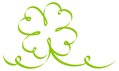 Single Cloverleaf Calligraphy Green Ribbon