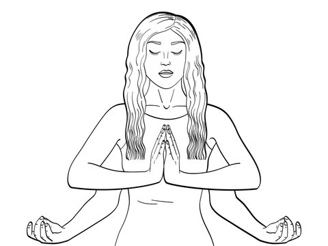 Lakshmi a woman with four hands in Hinduism. Pose in yoga. children coloring, black lines. Vector illustration