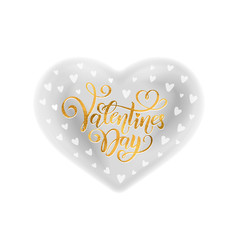 Vector gold handwritten lettering Happy Valentines Day. Calligraphy text Valentine's Day in gray heart watercolor effect