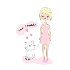 Beautiful little girl with a white cat, on background with inscription Best friends.