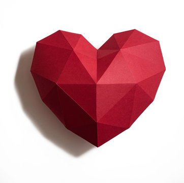 Paper hearth with shadow. Red polygonal paper heart for Valentine's day or any other Love invitation cards.