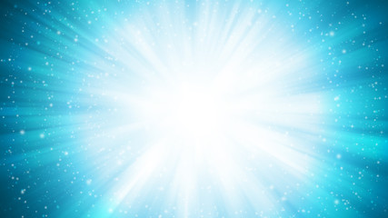 Soft Blue sparkle rays lights with bokeh elegant abstract background. Dust sparks background.