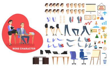 Businessman character in suit set for animation.