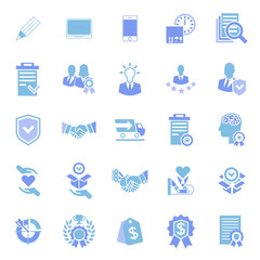 Set of vector icons in flat style. Subject characteristics for the site, loyalty, idea, delivery, warranty, rewards and security.