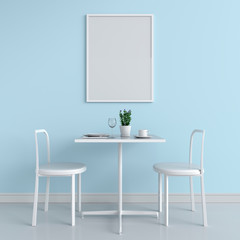Blank photo frame for mockup on wall, 3D rendering