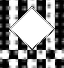 Modern abstract and unique background in black and white polka dots placed over stripes and checkered prints.   Center has white text area with borders