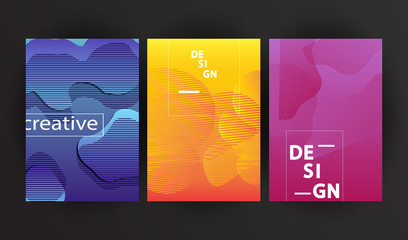 Set of Minimalist geometric backgrounds. Trendy gradient, liquid shapes composition.