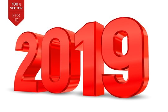 2019 red metallic shiny numbers isolated on white background. 3D isometric new year sign for greeting card or poster. Happy New Year 2019. Vector Illustration.