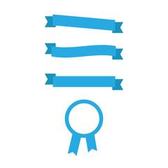 Blue banner ribbons and badges. Flat ribbon and badge icons