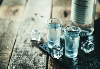 Traditional greek vodka - ouzo in shot glasses