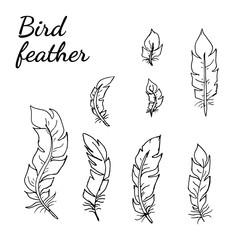 Collection of isolated flat style bird feathers set. Decoration black contour elements on white background. EPS 10