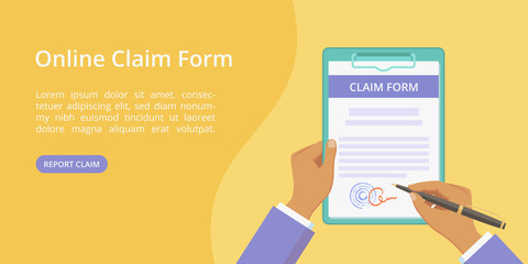 Hands with clipboard claim form web page template. Vector landing concept flat man hand holding document on board with paper clip. Yellow web illustration template with hand, clipboard and claim form