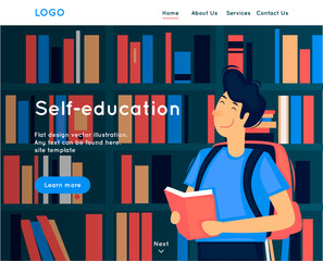 Site template, Self-education, reading, library. Web page design. Website and mobile development. Flat vector illustration in cartoon style.