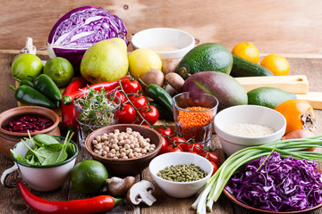 Variety of fresh  vegetables, fruits, dry grains and beans