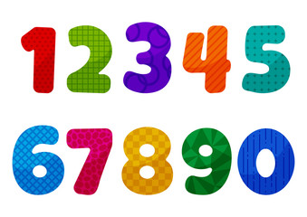 Colorful kids font numbers from 1 to 0 with different patterns. Vector illustration