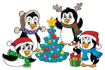 Christmas penguins thematic image 4