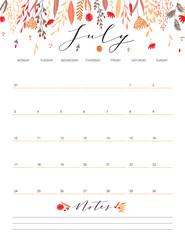 July flower calendar.