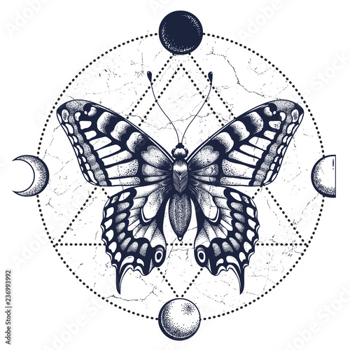 Butterfly,moon phases Tattoo and T-shirt design
