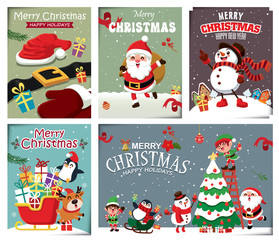 Vintage Christmas poster design with vector snowman, reindeer, penguin, Santa Claus, elf, characters.