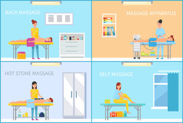 Medical Massage in Massaging Cabinet Cartoon Set