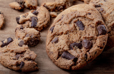 Homemade cookies. American chocolate chip cookies  on rustic wooden background