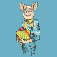Pig Christmas and New Year vector concept