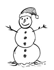 Black brush and ink artistic rough grunge hand drawing of smiling winter snowman with Santa's hat.