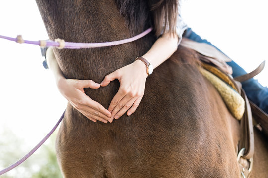 Woman Representing Love While Making Heart Shape On Horse