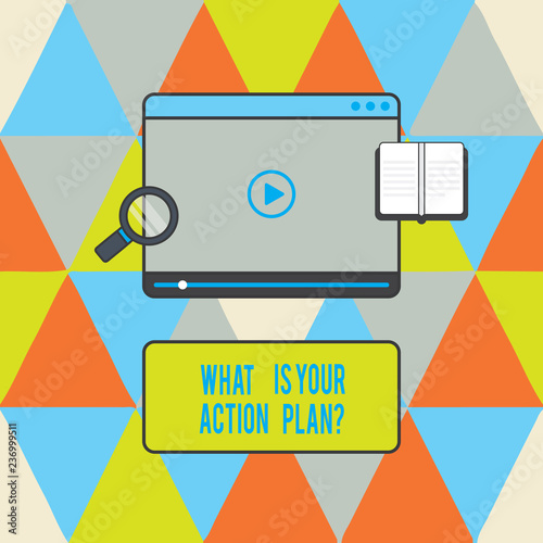 Text sign showing What Is Your Action Planquestion  Conceptual photo