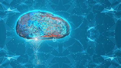 Cyber brain AI futuristic interface conceptual design 3d render