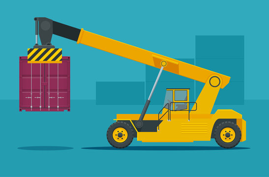 Mobile Container Handler in action at a container terminal. Crane lifts container handler Isolated vector illustration