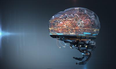 Cybernetic artificial robot brain AI futuristic conceptual design, 3d render