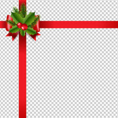Xmas Red Ribbon Bow Transparent Background