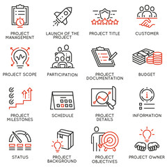 Vector set of linear icons related to project management. Mono line pictograms and infographics design elements - part 1
