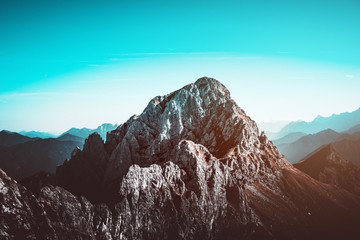Rugged, rocky mountain landscape and blue sky