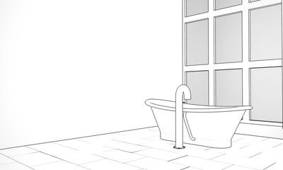 Pen and ink sketch of a designer bathroom