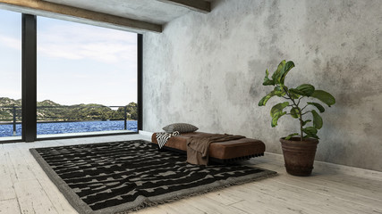 Minimalist loft conversion with bench and rug